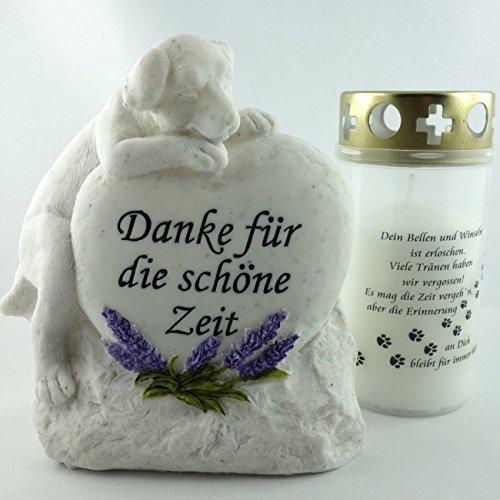 Set für Hundegrab, Grabschmuck mit Tiergrab Kerze. B 14cm. 2er Set