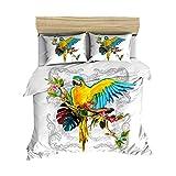 Sticker Superb. Juego de Cama 3D Flamingo Parrot Pájaro Tropical Azul Amarillo Blanco Rosa Verde Hoja Floral Patrón de Piña Cómoda Funda Nórdica y Funda de Almohada de Poliéster (Amarillo,Cama 90 cm)