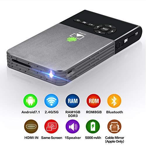 Opgewaardeerde Projector, Full HD 1080P Ondersteunde Miniprojector, Synchroniseer Het Smartphonescherm Met Wifi/USB-Kabel, Ondersteunde Telefoon/HDMI/AV/USB