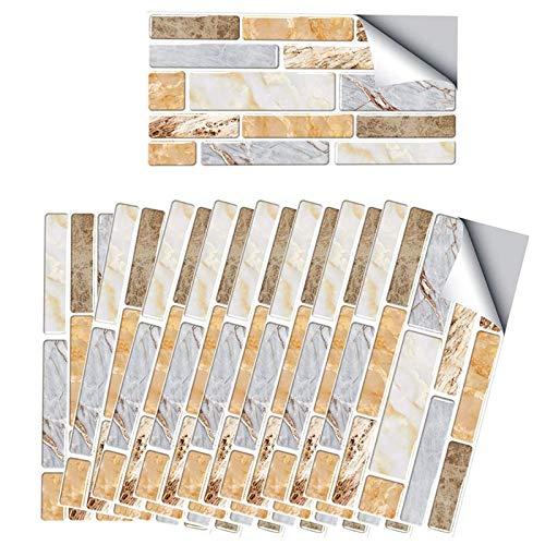 Pegatinas de azulejos autoadhesivos, pegatinas de 20x10 cm en azulejos, 18 PCS Etiquetas de azulejos de pared a prueba de agua y duradera, Peel and Stick Tile Backsplash para baño de cocina, azulejos