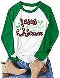 Jesus is The Reason for The Season Shirts Christmas Shirts for Women Christmas Raglan Baseball Tee Shirts Plus Size Green