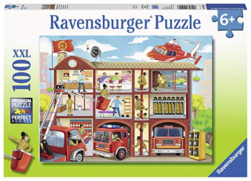 Ravensburger 10404 Firehouse Frenzy, 100 Piece Puzzle for Kids, Every Piece is Unique, Pieces Fit Together Perfectly, Multicolor, 19.5' x 14.25'
