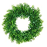 Pauwer Artificial Green Leaves Wreath 16' Boxwood Wreath Farmhouse Greenery Wreath for Front Door Hanging Wall Window Party Decoration (16' Boxwood)