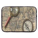 HGQHXY.U Kompass Lupe auf Vintage Weltkarte Laptop Sleeve wasserdicht Neopren Tauchen Stoff...