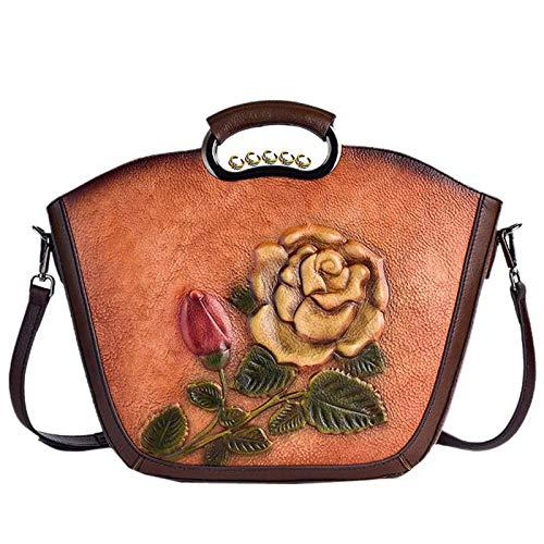 GGLZMMF Bolso De Cuero En Relieve Tridimensional Bolso De Hombro Vintage Floral Hecho A Mano Crossbody Bolsa Marrón Marrón Oscuro Amarillo + Marrón Brown-OneSize