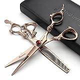 Rose Or 440c haute dureté ciseaux de coiffure japonais salon de coiffure coiffeur coupe de cheveux...