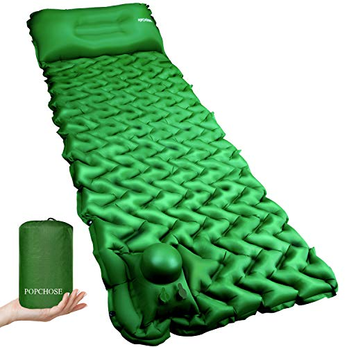 Camping Sleeping Pad Mat POPCHOSE with Air Pillow Foot Press Compact Lightweight Inflatable Backpacking Pad Built in Pump, Extra Thick Durable Waterproof Tent Padding for Traveling Camping Hiking Pad