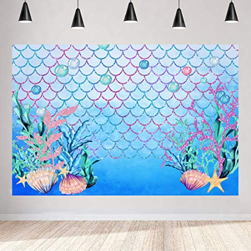 Aperturee 5x3ft Under The Sea Blue Photography Backdrop Ocean Mermaid Theme Princess Girl Birthday Party Decoration Scales Pearls Starfish Shell Baby Shower Photo Studio Booth Background Banner