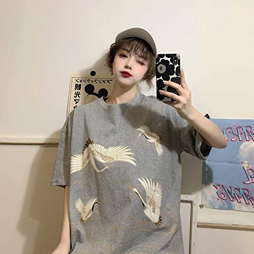 T-Shirt da Donna Hip-Hop Street T-Shirt da Donna Abbigliamento da Donna a Maniche Corte Tide Harajuku Plus Size Slip Cartoon Stampa dei Cartoni Animati Top da Donna Bianca 2XL