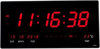 18.5 Inch Oversized LED Digital Wall Clock/Calendar Large Display with Indoor Temperature Date and Day of Week,Electric Wall Mounted Desk Cock Timer,Red