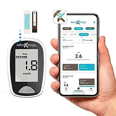 KETO-MOJO Bluetooth Ketone & Glucose Blood Testing Kit + APP, 20 Test Strips (10 Each), 1 Meter, 10 Lancets, 1 Lancing Device, Monitor Your Ketosis & Ketogenic Diet from KETO-MOJO