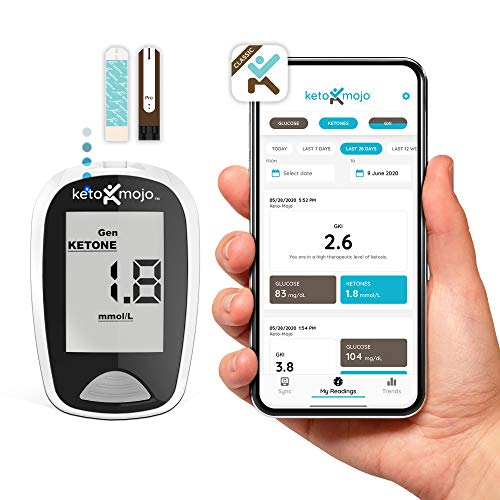 KETO-MOJO Bluetooth Ketone & Glucose Blood Testing Kit + APP, 20 Test Strips (10 Each), 1 Meter, 10 Lancets, 1 Lancing Device, Monitor Your Ketosis & Ketogenic Diet