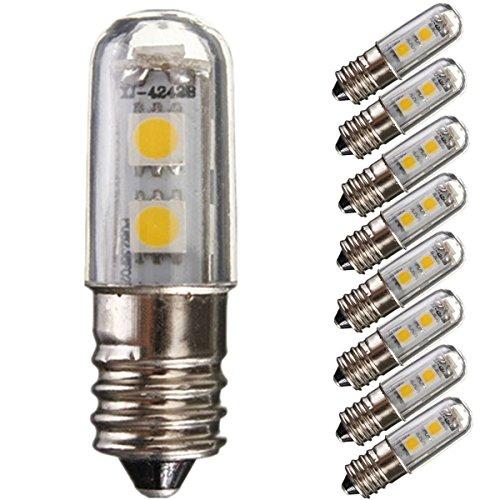 MiYan 8 Stück im Set E14 1 W LED Kühlschrank Leuchtmittel 7 SMD 5050 Warmweiß Farbe 15 W Ersatz für Halogenlampe 3000 K 45 lm energiesparend 220 V [Energieklasse A+]