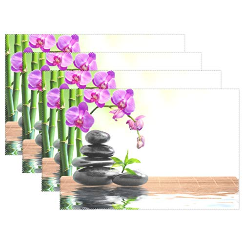 Vinlin Fleur Orchidée japonais zen Stone en bambou résistant à la chaleur de cuisine Sets de table 30,5 x 45,7 cm Table de salle à manger Set de table support de plaque Lot de 4, multicolore, 6 pièces