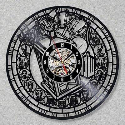 qweqweq Clásico Doctor Who Reloj de Pared diseño Moderno decoración 3D Colgante Vintage Disco de Vinilo Reloj Reloj de Pared decoración del hogar