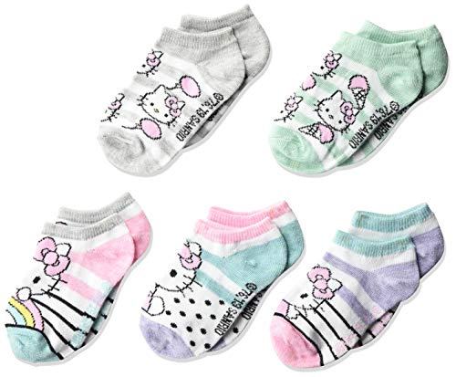 Hello Kitty girls Hello Kitty 5 Pack No Show Casual Sock, Assorted Sherbet, Fits Sock Size 5-6.5 Fits Shoe Size 4-7.5 US