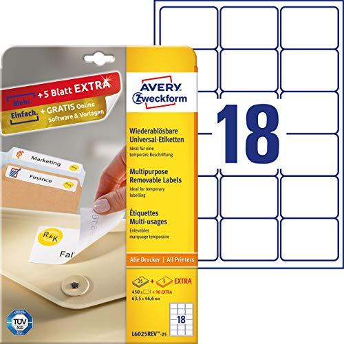 Avery España L6025REV-25 - Pack de 25 hojas de etiquetas removibles, 63.5 x 46.6 mm, color blanco