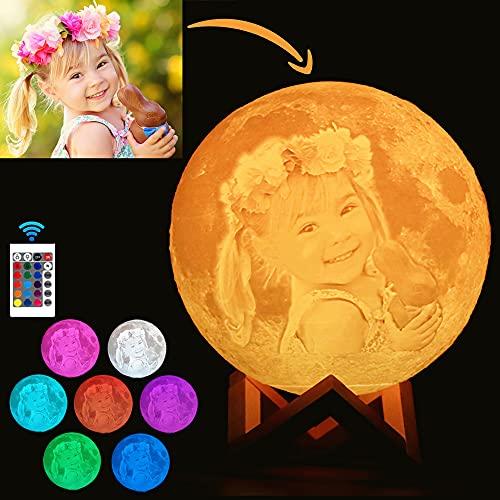 Lampara De Luna Personalizada Foto Y Texto 3D Usb Recargable 16 Colores Control Remoto Y Táctil Controlar Personalizado Luz De Noche Creativa Romántica (Diámetro 15cm)