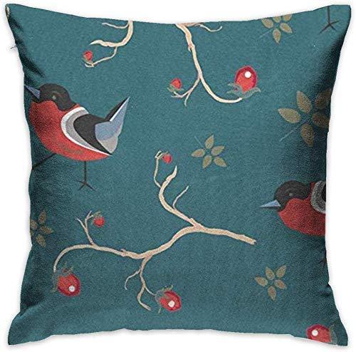 brandless Square Throw Pillow Case Throw Pillow Cover Christmas New Year Winter Robin Birds Animal Decorative Pillow Case Decor Cushion Pillowcase,18x18 inches