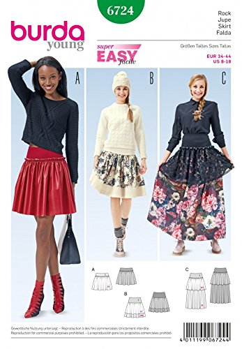 Burda Damen Schnittmuster 6724 stufenröcke in 3 Styles + Gratis Minerva Crafts Craft Guide