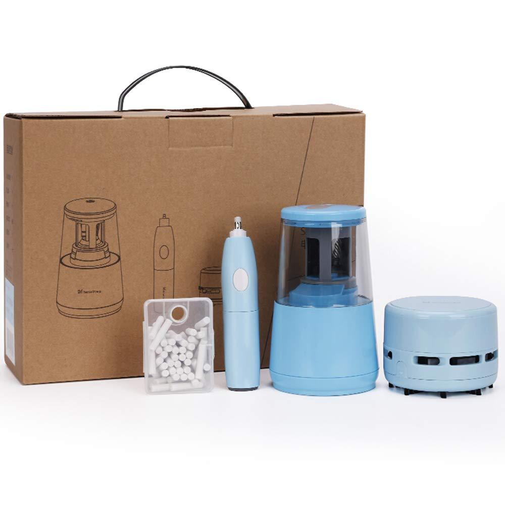 HGFDSA Kit De Combinación De Artículos De Papelería, Lindo Paquete Caja De Regalo con Sacapuntas + Aspiradora De Escritorio + Borrador Eléctrico, Etc,Azul: Amazon.es: Hogar