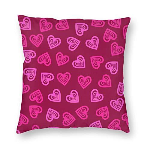 Nixboser Fundas de almohada de poliéster sin costuras, para el día de San Valentín, diseño de corazones rojos, para decoración del hogar, para sofá, sala de estar, cama, coche, tamaño de 50 x