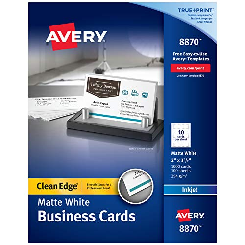 Avery Printable Business Cards, Inkjet Printers, 1,000 Cards, 2 x 3.5, Clean Edge, Heavyweight (8870), White