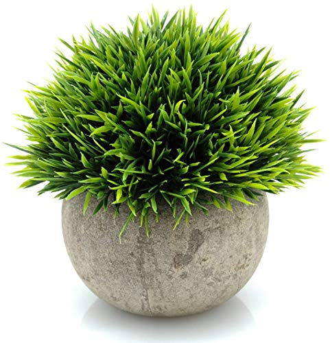 Velener Mini Plastic Fake Green Grass Plants with Pots for Home Decor Indoor