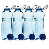 SAXONICA 4er Set mit Sport-Deckel - Trinkflasche aus Tritan 1,0 Liter 410201 Sport Kinder Kavodrink BPA frei Wasserflasche -