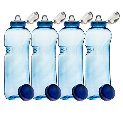 SAXONICA 4er Set mit Sport-Deckel - Trinkflasche aus Tritan 1,0 Liter 410201 Sport Kinder Kavodrink BPA frei Wasserflasche
