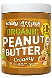 Body Attack Erdnussbutter 30% Protein ohne Zuckerzusatz mit Stückchen Peanut Butter (Bio Creamy, 1 kg)