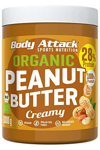 Body Attack Organic Peanut Butter, 1kg, Bio-Erdnussbutter ohne Palmöl, Erdnussmus vegan, ungesüßt, 28% Protein