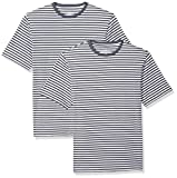 Amazon Essentials Men's Regular-Fit Short-Sleeve Stripe Crewneck T-Shirts, Navy/White, XX-Large