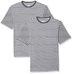 This classic loose-fit striped tee features all-cotton construction, a crew neckline and short-sleeves for comfort Everyday made better: we listen to customer feedback and fine-tune every detail to ensure quality, fit, and comfort