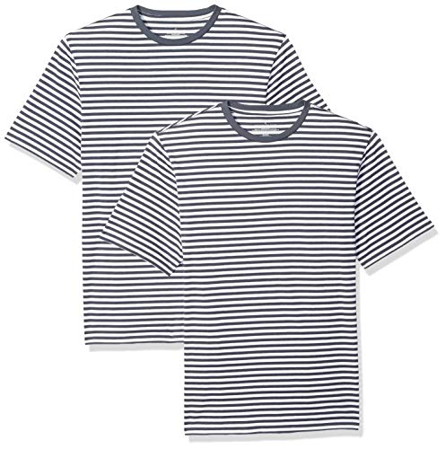 Amazon Essentials Men's Loose-Fit Short-Sleeve Stripe Crewneck T-Shirts, Navy/White, Medium