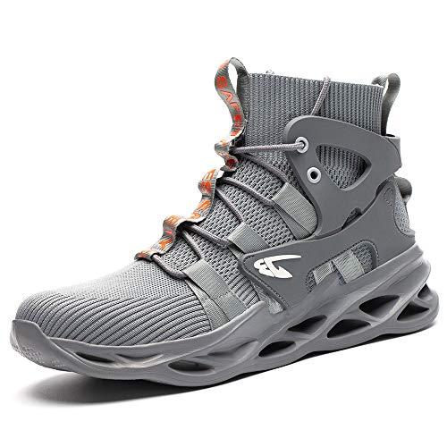 [マンディー] 安全靴 ハイカット あんぜん靴 作業靴 レディース メンズ 安全 ブーツ スニーカー おしゃれ 鋼先芯入れ 軽量 耐滑 安全長靴 通気性 黒 セーフティーシューズ 799/グレー/38