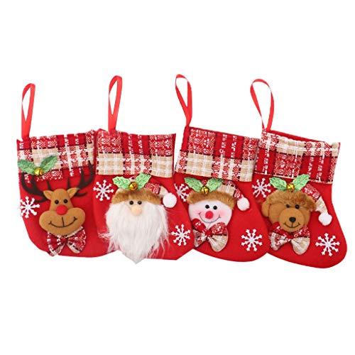 carol -1 Deco 4er Set Filz-Nikolausstrumpf Weihnachtsstrumpf Deko Kamin Christmas Stocking Nikolausstiefel zum Befüllen und Aufhängen Groß Ideale Weihnachtsdekoration-Schneemann
