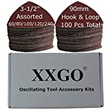 XXGO 100 Pcs 3-1/2 Inch 90mm Triangular 60/80 /100/120 /240 Grits Hook & Loop Multitool Sandpaper for Wood...