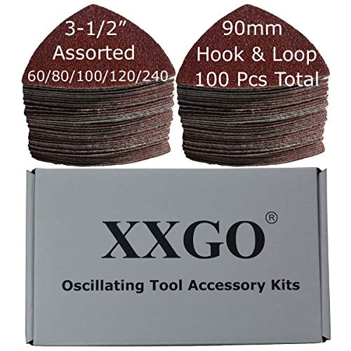 XXGO 100 Pcs 3-1/2 Inch 90mm Triangular 60/80 /100/120 /240 Grits Hook & Loop Multitool Sandpaper for Wood Sanding Contains 20 of Each Fit 3.5 Inch Oscillating Multi Tool Sanding Pad XG9020