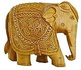 Zap Impex Figura decorativa de elefante tallada a mano de madera, figura coleccionable, decoración de mesa y decoración del hogar
