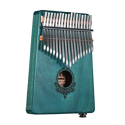 Muslady 17-key Kalimba Portátil Pulgar Piano Mbira Caoba de madera incorporada Pickup con interfaz de altavoz de 6.35 mm con llevar bolso de regalo musical