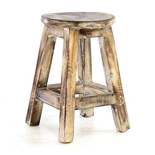 Divero Rustikaler Vintage Hocker rund massiv Holz Sitzhocker geflammt Used-Look Schemel Blumentisch Blumenhocker Landhaus-Stil 40cm