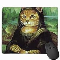 モナ・リザ 猫 マウスパッド 運びやすい オフィス 家 最適 おしゃれ 耐久性 滑り止めゴム底付き 快適操作性 30*25*0.3cm