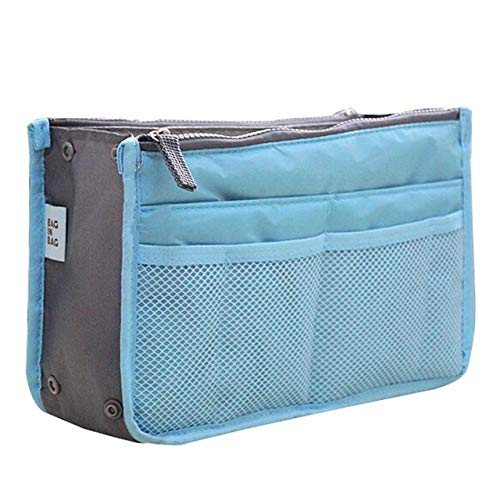 YIBING Cosmetic Bag Makeup Bag Travel Organizer Portable Beauty Pouch Functional Toiletry Bag, Sky Blue