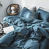 QIANBAOBAO Juego de 3 Piezas Bordado Simple de Color sólido 60 Ropa de Cama de algodón de Grapas largas-Azul Claro de Luna_2.0M Cama