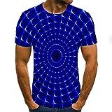 Short Sleeved Shirts for Men Blue-Purple Funnel-Shaped Vortex T-Shirt Men's 3DT Shirt Short-Sleeved Round Neck Digital Printing Casual Short-Sleeved-Color_4XL