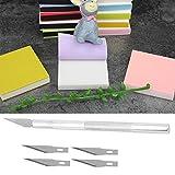 Alfombrilla de corte A5 con bloques de talla, kit de talla de sello de goma Alfombrilla de curación automática con 5 cuchillas y cuchillo de tallado para sellos de bricolaje Hacer manualidades hobbies
