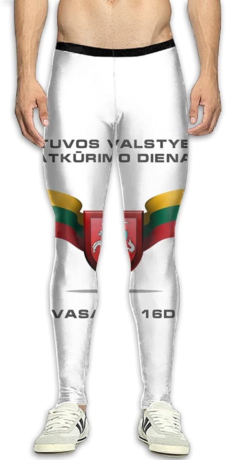 Nollm National Emblem of The National Flag of Lithuania Compression Men's Gym Training Pants Sports Trousers Pants