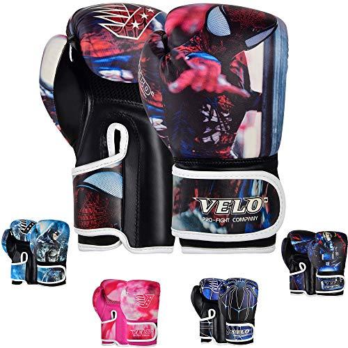 VELO. Gants de boxe pour enfants - 170,1 g, 113,4 g - Sac d'entraînement, de sparring, de frappe, de MMA (170,1 g, Spiderman)