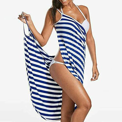 IAMZHL Textiles para el hogar Toalla Mujer Bata de baño Puede Usar Toalla Vestido niñas Mujeres Mujeres Mujeres Secado rápido Playa SPA Pijamas mágicos para Dormir-Blue-3-S